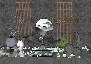 新中式禅意景观 景观小品 滨水SU(草图大师)模型