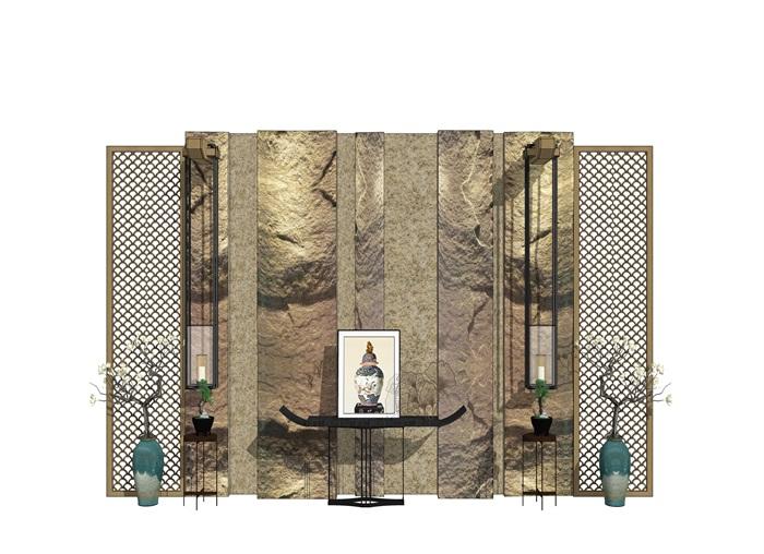 新中式 背景墻 案臺 屏風 裝飾品 花瓶(1)
