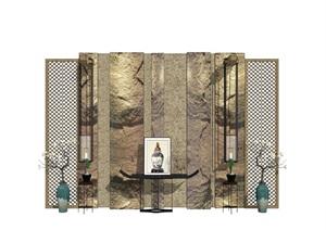 新中式 背景墙 案台 屏风 装饰品 花瓶SU(草图大师)模型