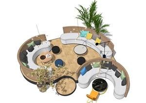 现代休闲座椅 休闲区 沙发 餐厅卡座 椅子 落地灯 吊灯 绿植SU(草图大师)模型