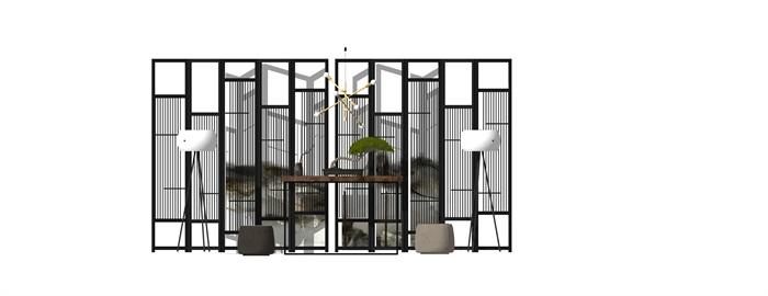 新中式家具屏風 隔斷 案臺 椅子組合(1)