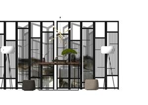新中式家具屏风 隔断 案台 椅子组合SU(草图大师)模型