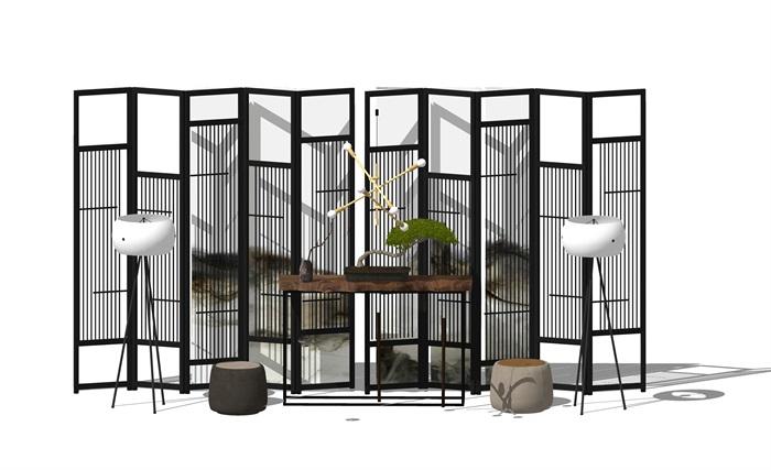 新中式家具屏風 隔斷 案臺 椅子組合(3)