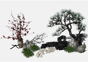 新中式园艺园林景观假山SU(草图大师)模型