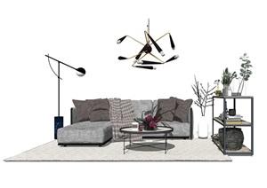 现代北欧沙发组合SU(草图大师)模型
