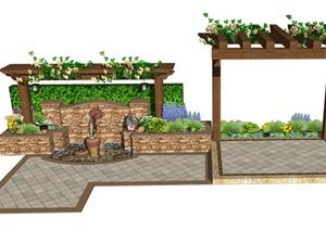 景观小品 庭院景观 水景 廊架 植物 石砖 陶罐SU(草图大师)模型