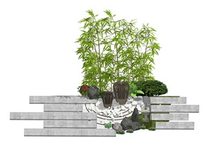 庭院景观 景观小品 竹子 植物 鹅卵石 石板SU(草图大师)模型