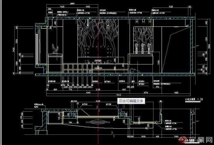 兩款現代電視墻設計圖紙