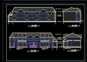 美式多层别墅建筑cad施工图纸
