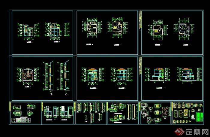 欧式三层别墅建筑结构cad施工图,图纸包含了详细的材料及尺寸标注,包含了建筑结构图及设计说明,图纸可直接下载用于相关园林景观施工设计使用,欢迎下载。
