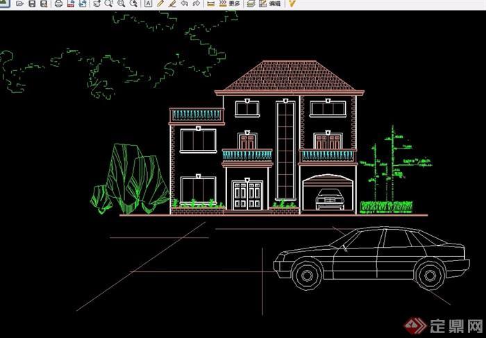 單棟兩層半小別墅建筑cad方案圖
