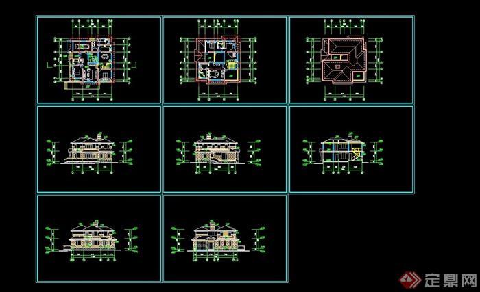 兩層詳細別墅設計cad方案圖帶效果圖