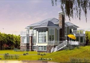 美式风格多层别墅设计cad方案带效果图