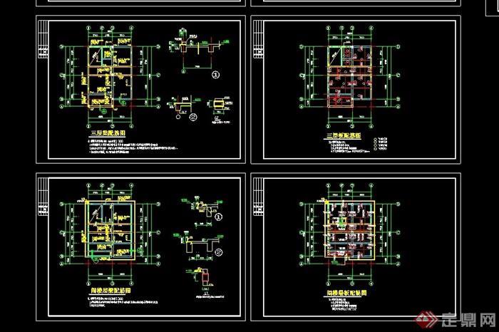 三層別墅全套建筑cad結構圖