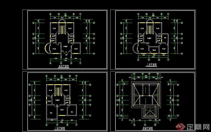 三層別墅cad平面方案圖
