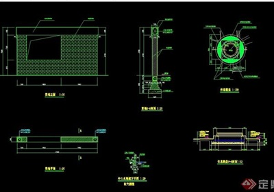 某詳細的精致景墻設計cad施工圖