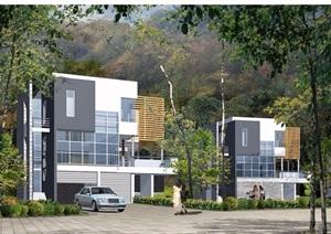 两套别墅设计cad方案图带效果图