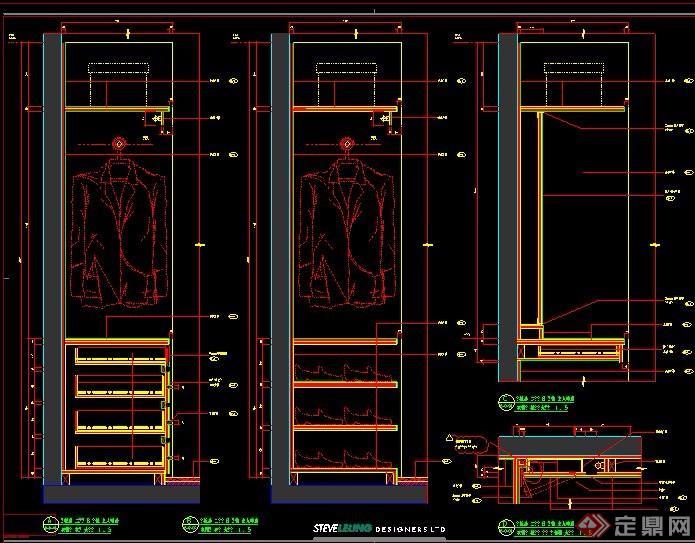 衣柜及邊柜節點設計圖紙