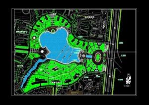 某详细的软件园临湖绿化cad方案平面