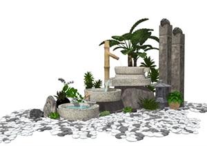 新中式景观小品 跌水景观 植物栓马柱石头组合SU(草图大师)模型