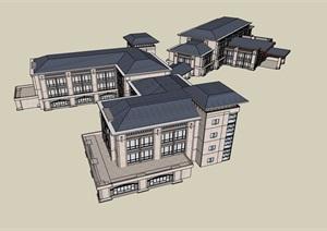 欧式风格度假营地酒店设计SU(草图大师)模型