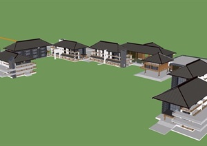中式风格度假村酒店建筑SU(草图大师)模型