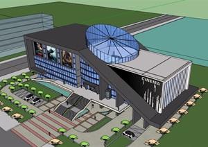 电影院详细的多层建筑楼设计SU(草图大师)模型