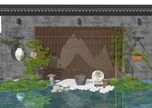 新中式景观小品庭院小品滨水陶罐SU(草图大师)模型
