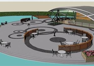滨水茶室建筑及景观设计SU(草图大师)模型