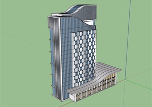 现代办公楼详细完整建筑设计SU(草图大师)模型