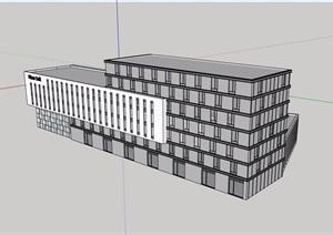 现代风格详细的七层办公楼建筑设计SU(草图大师)模型