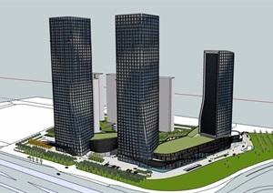 某详细完整的高层办公楼建筑SU(草图大师)模型