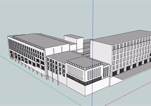 无材质贴图多层办公楼设计SU(草图大师)模型