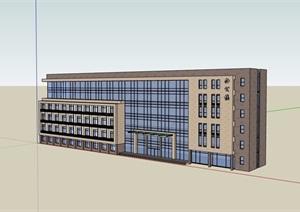 四层详细完整的办公楼建筑设计SU(草图大师)模型