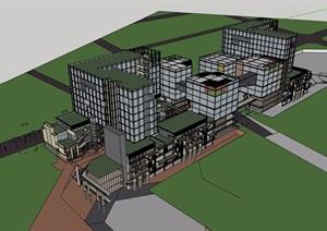 某现代风格办公加商业建筑楼设计SU(草图大师)模型