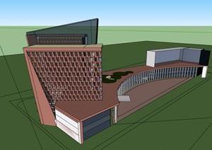 现代详细的独特办公大楼设计SU(草图大师)模型
