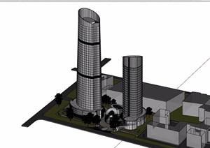 办公高层详细建筑楼设计SU(草图大师)模型