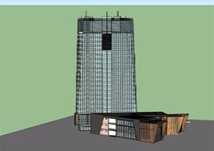 现代独特造型丰富的办公楼建筑SU(草图大师)模型