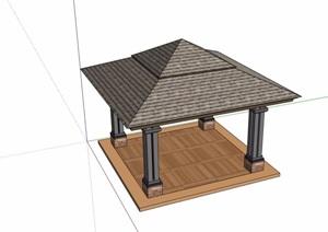 东南亚风格详细的完整亭子素材SU(草图大师)模型