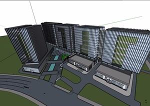 详细高层办公楼设计SU(草图大师)模型
