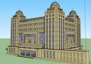 欧式详细的经典政府大厦建筑楼设计SU(草图大师)模型