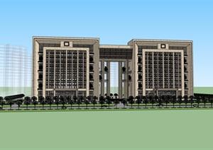 现代详细政府办公楼详细建筑设计SU(草图大师)模型