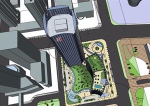 某详细的高层银行办公大厦建筑设计SU(草图大师)模型