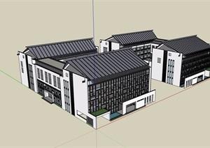 中式风格多层详细的办公建筑素材设计SU(草图大师)模型