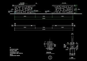 钢架景墙详细精致设计cad施工图