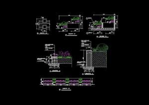 详细的花坛及挡墙设计cad施工图