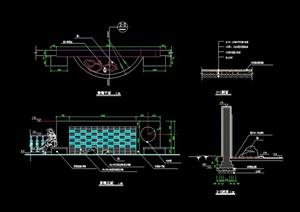 现代景观节点景墙设计cad施工图