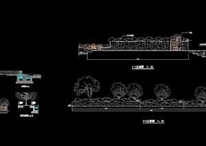 现代独特详细的景墙设计cad立剖面图