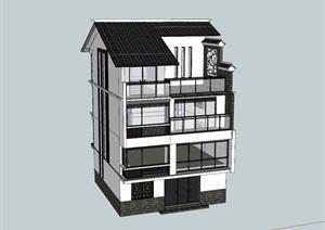 现代新中式徽派农村自建宅私人住宅别墅民宿SU(草图大师)模型平面示意图