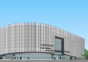 折板金属镂空表皮圆形弧线形文化艺术中心展览馆博物馆
